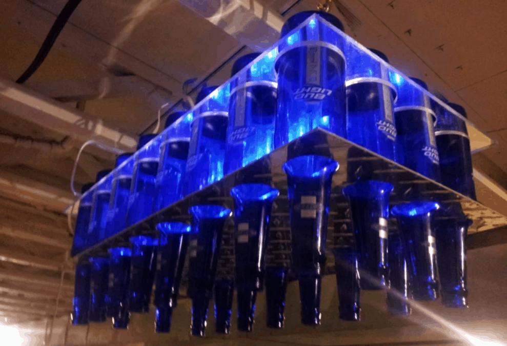 DIY Beer Bottle Chandelier