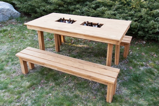 DIY Patio Table with Cooler